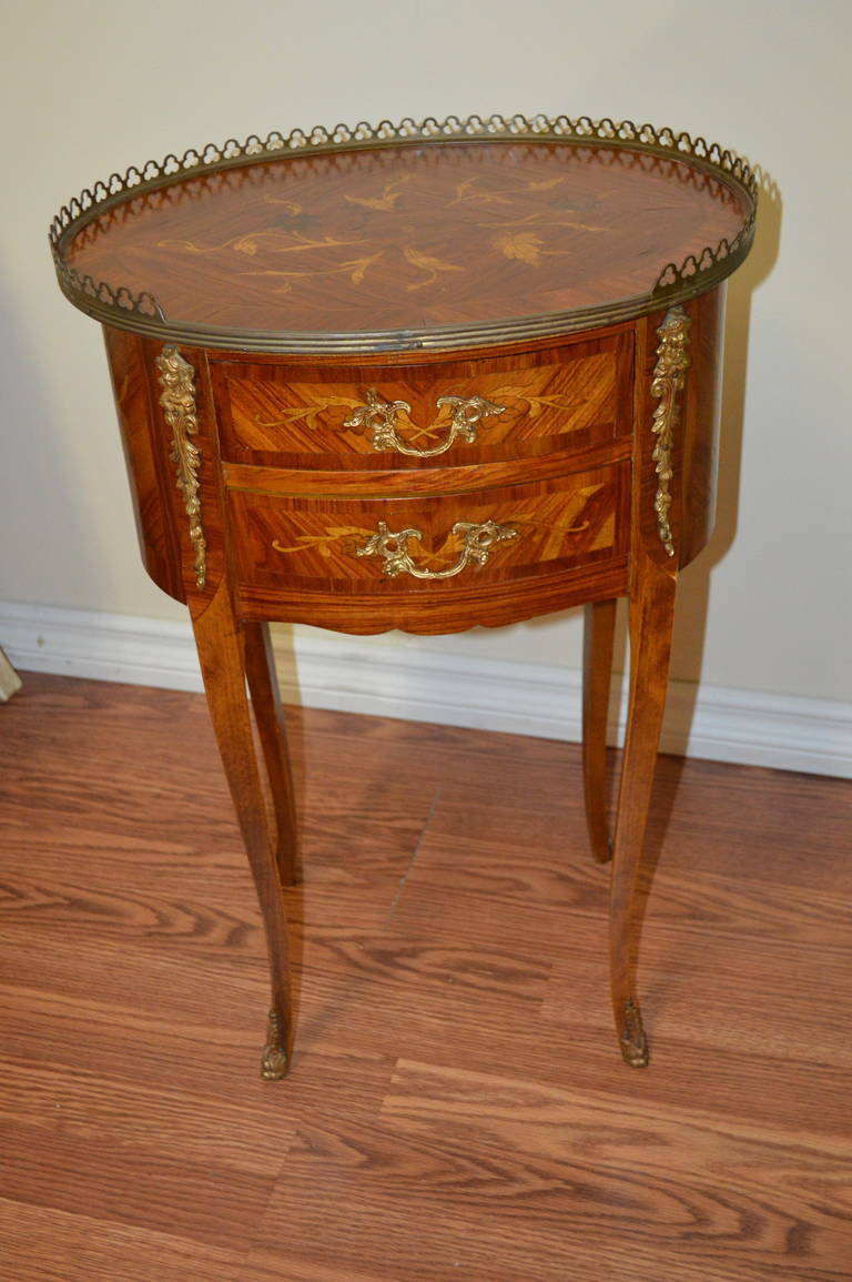 Louis xv style marquetry side table at 1stdibs - Table louis xv ...