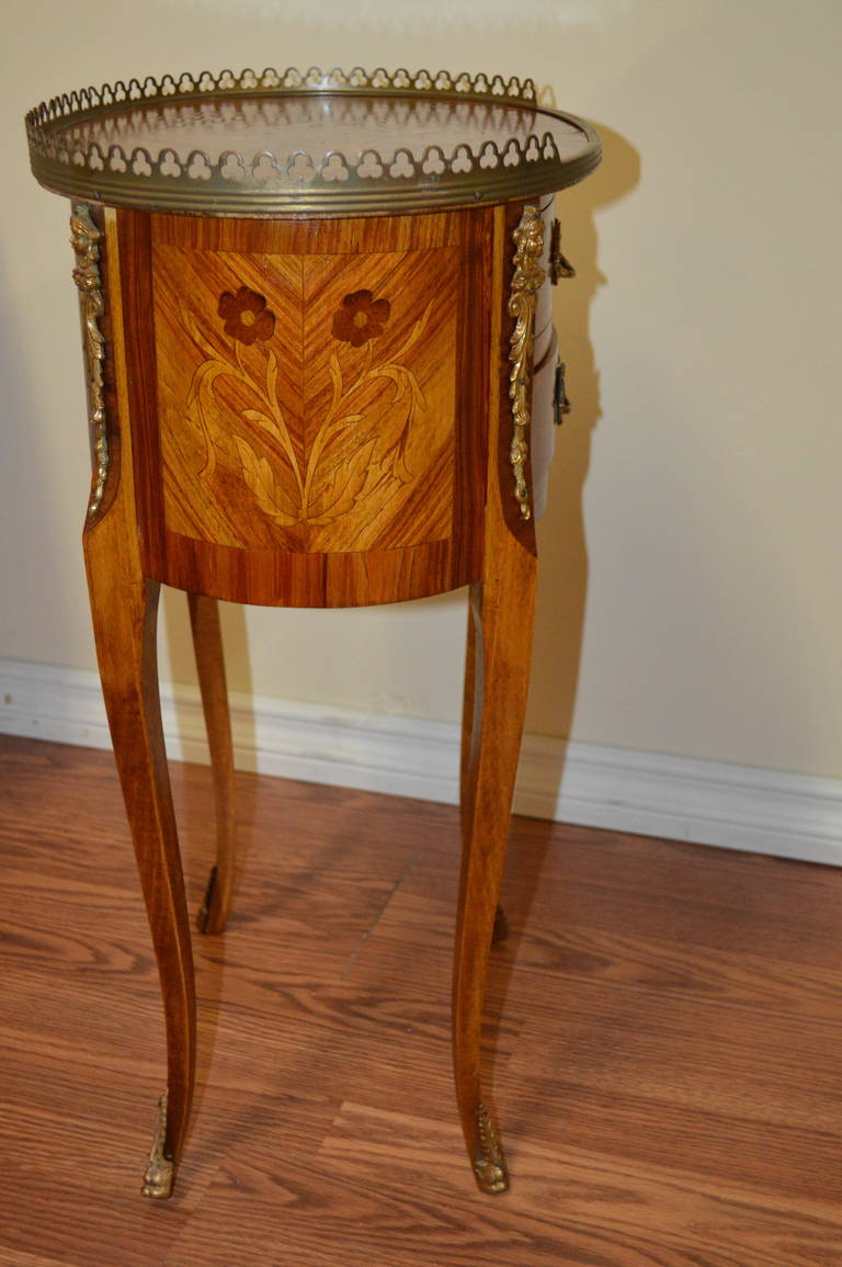 Louis xv style marquetry side table at stdibs