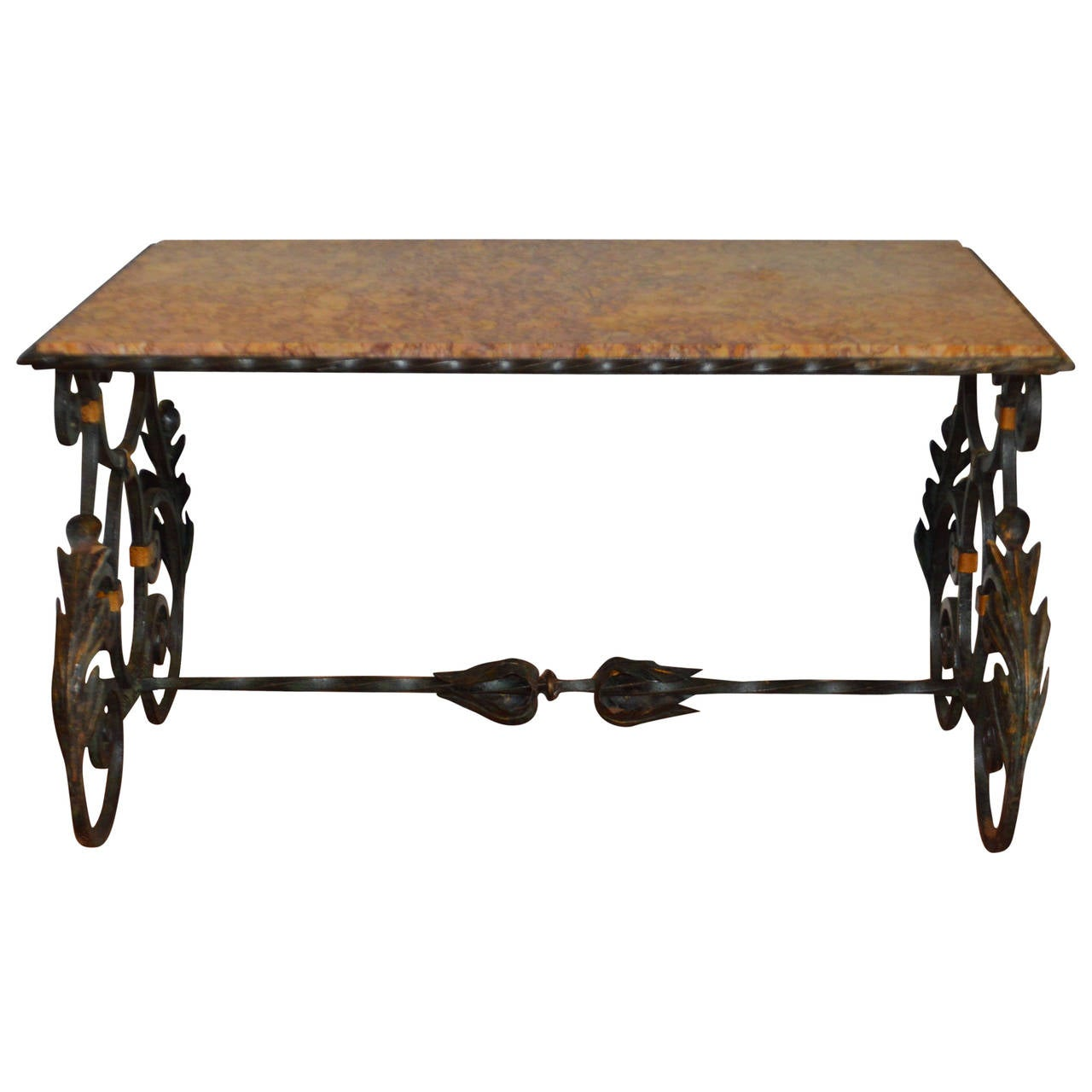 Belle epoque wrought iron coffee table with marble top for Stone and iron coffee table