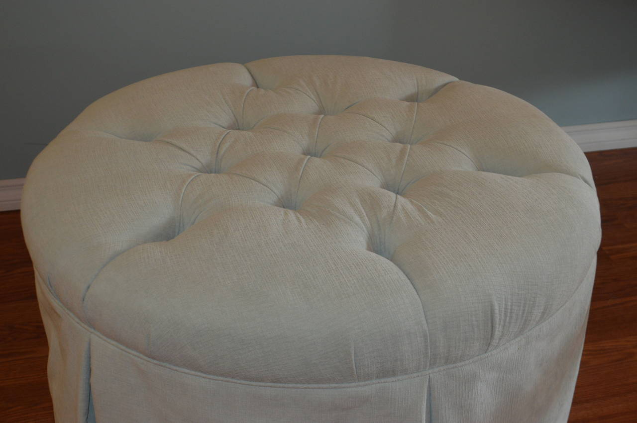 Upholstered And Tuffted Ottoman Or Coffee Table At 1stdibs