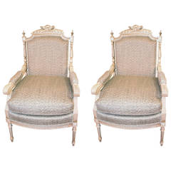 Pair of 19th Century Louis XVI Style Painted Armchairs