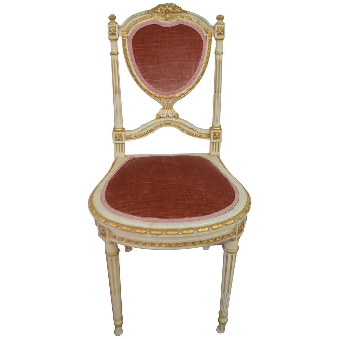 Antique louis xvi chair - Louis Xvi Style Heart Shape Backside Chair 1