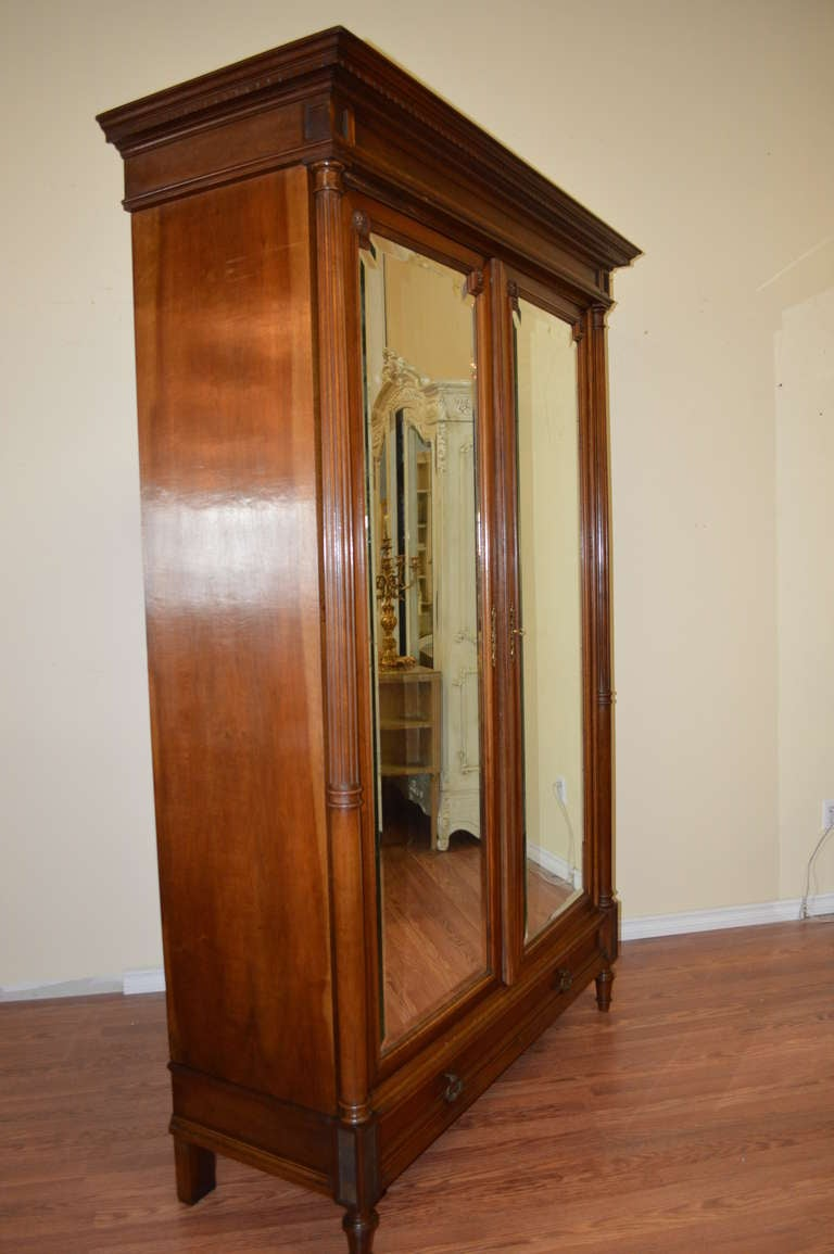louis xvi style walnut armoire at 1stdibs. Black Bedroom Furniture Sets. Home Design Ideas