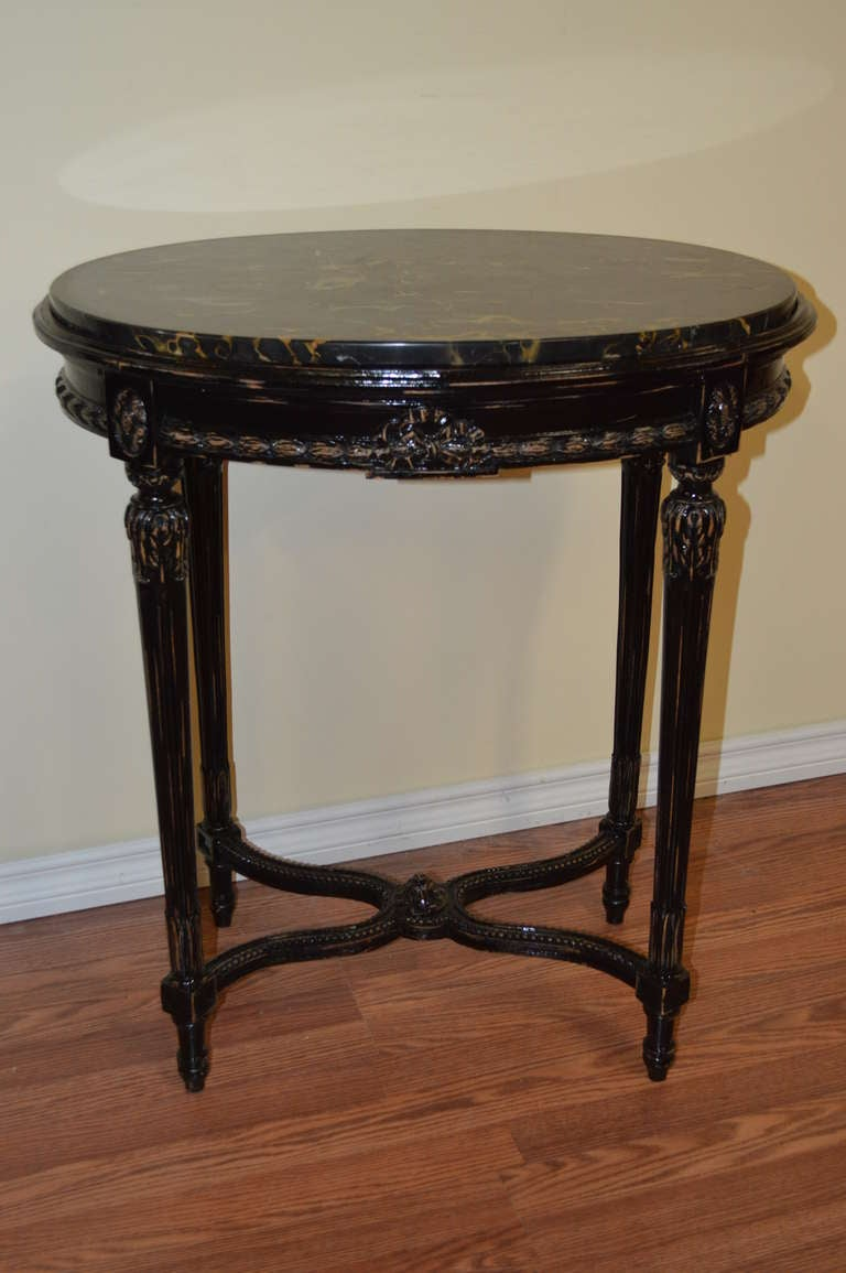Louis xvi style black oval side table at stdibs