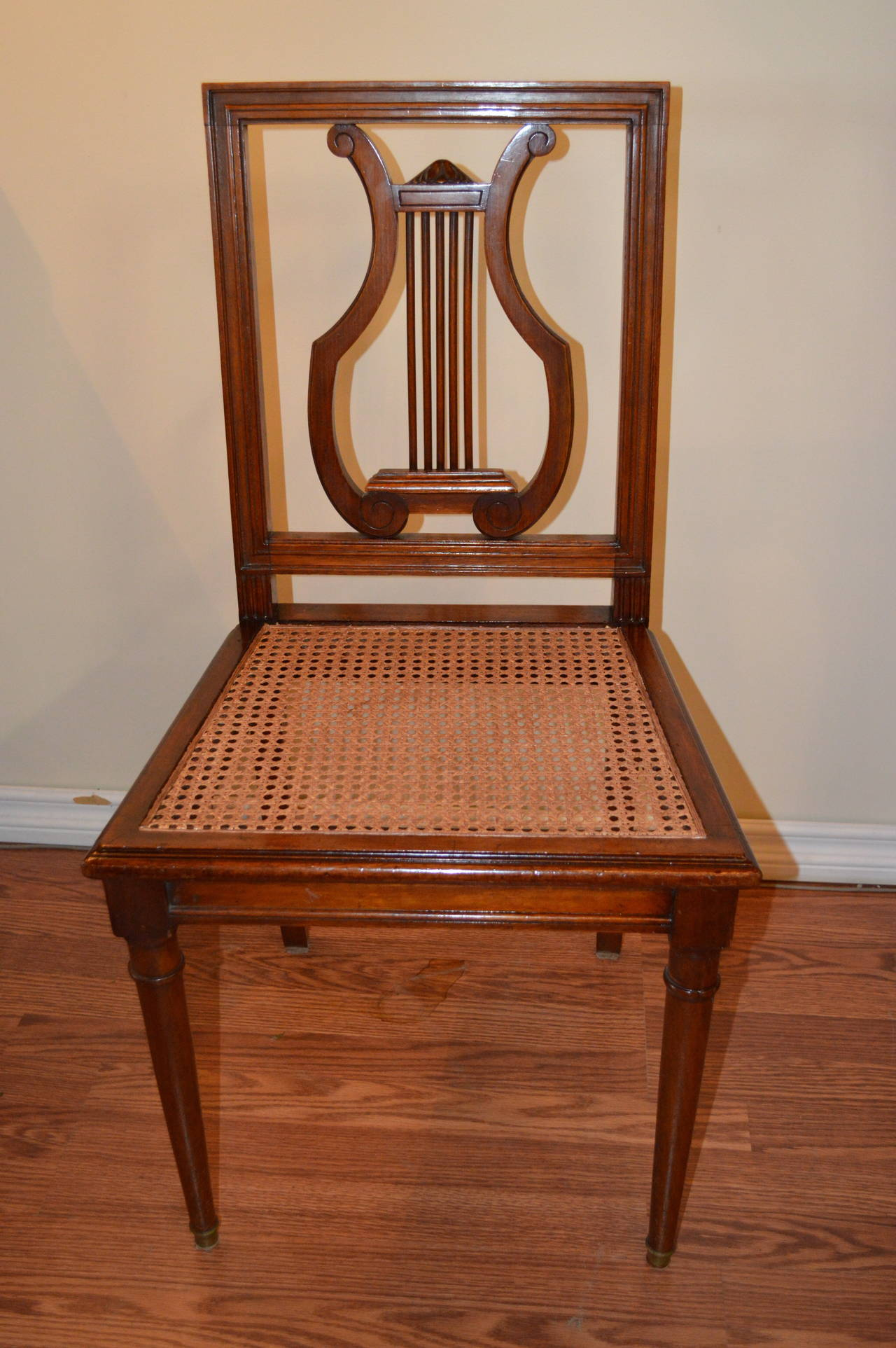 Brilliant Set Of Six Mahogany Harp Back Dining Chairs At 1Stdibs Ncnpc Chair Design For Home Ncnpcorg