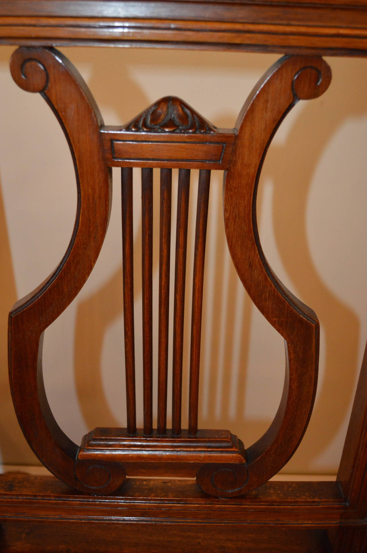 Peachy Set Of Six Mahogany Harp Back Dining Chairs At 1Stdibs Ncnpc Chair Design For Home Ncnpcorg