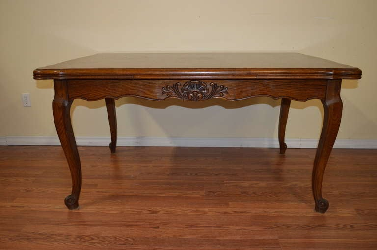 Louis xv style solid oak country style dining table at 1stdibs - Table louis xv ...