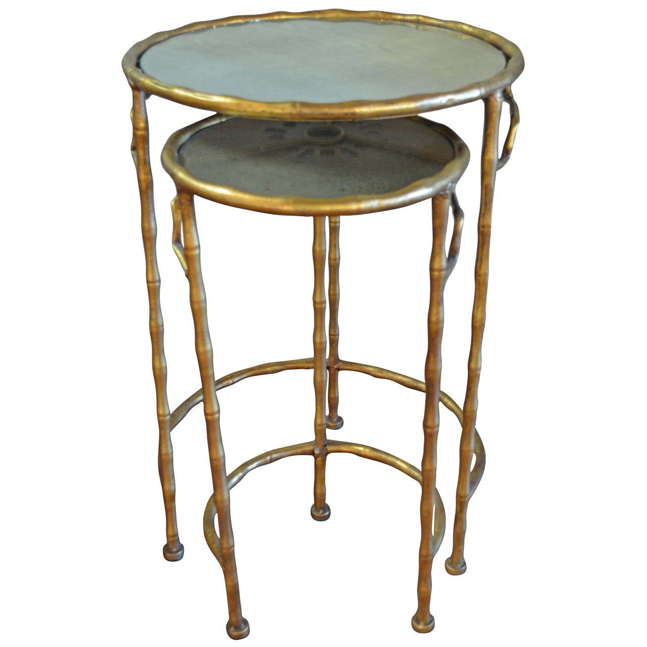 Nest of two gilded metal bamboo style side tables at stdibs