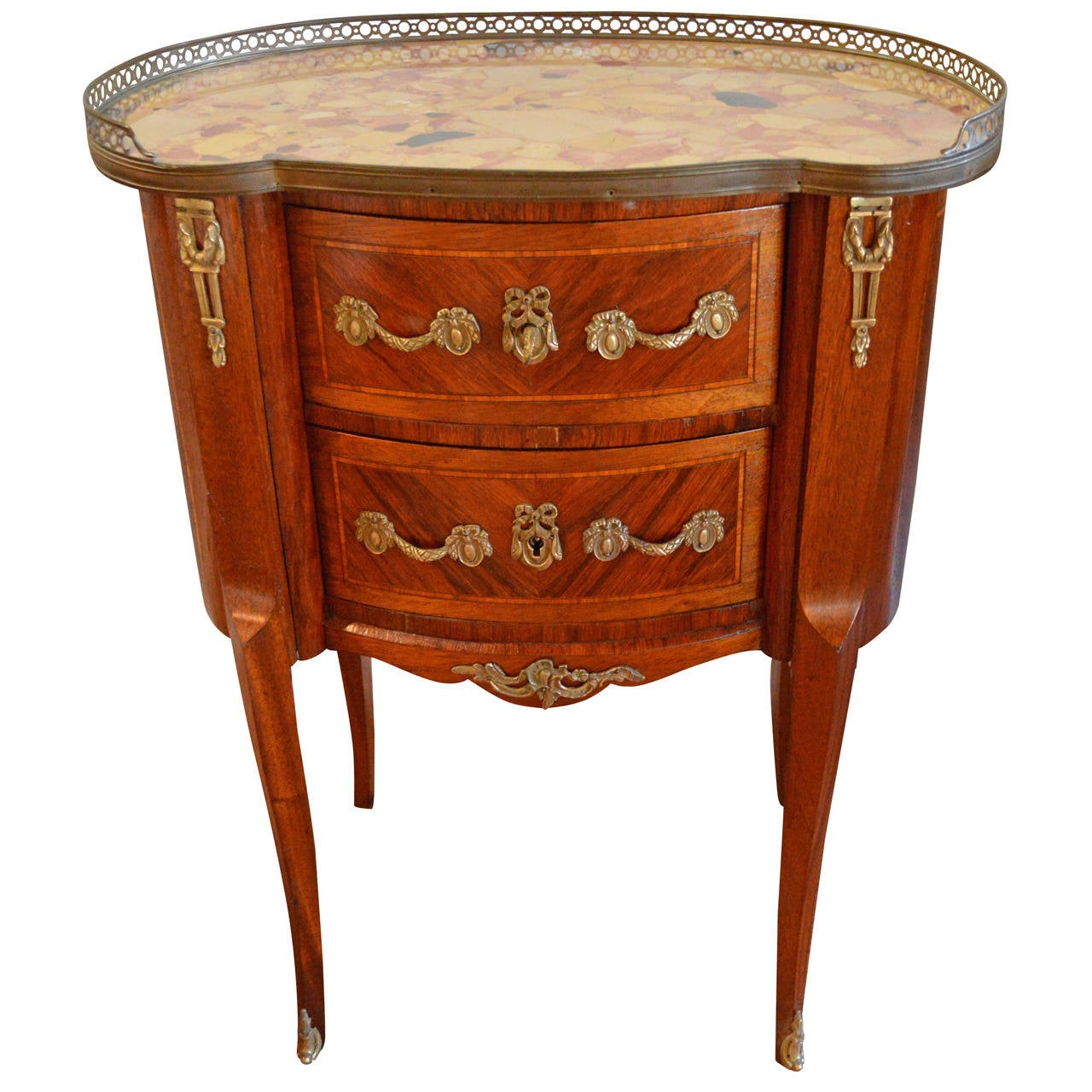 louis xv style inlay kidney shape petite commode for sale. Black Bedroom Furniture Sets. Home Design Ideas