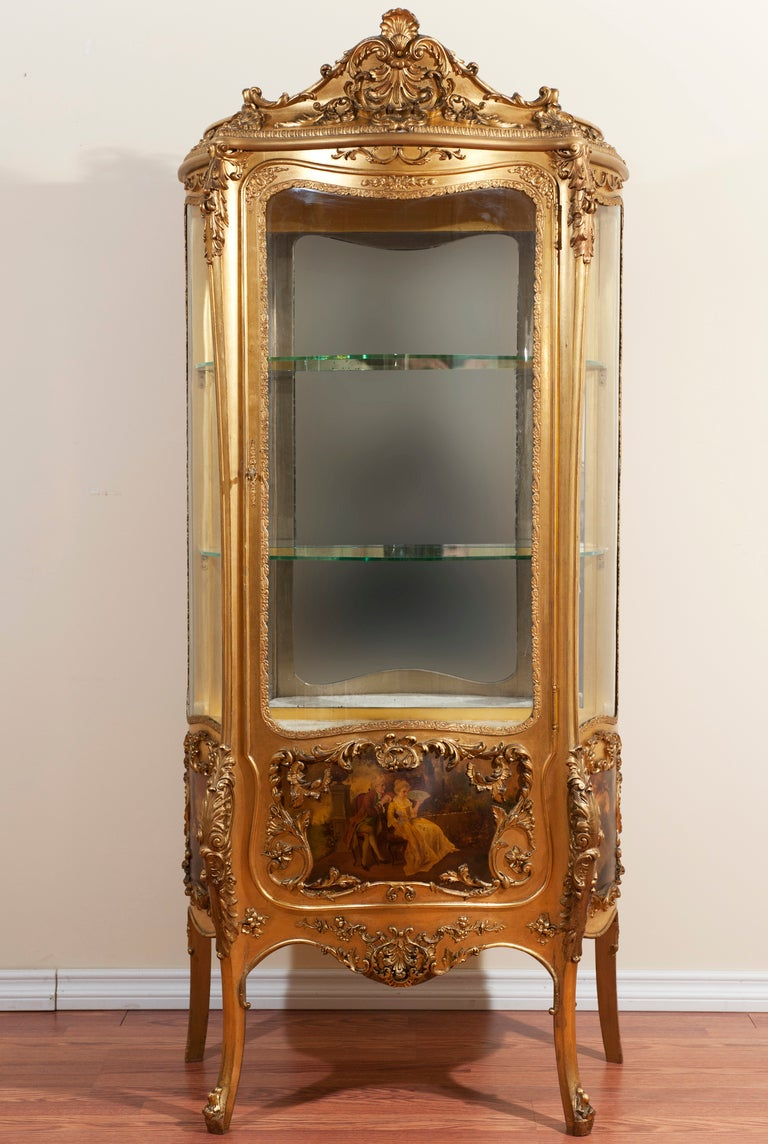 19th century louis xv style gilded vitrine at 1stdibs. Black Bedroom Furniture Sets. Home Design Ideas