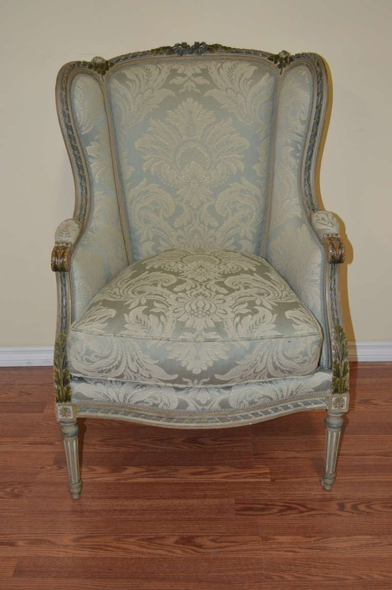 louis xvi style painted bergere a oreille at 1stdibs. Black Bedroom Furniture Sets. Home Design Ideas