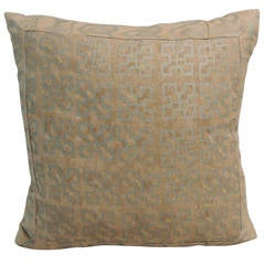 """Petite Fortuny Pillow in """"Ashanti"""" Silver on Brown"""
