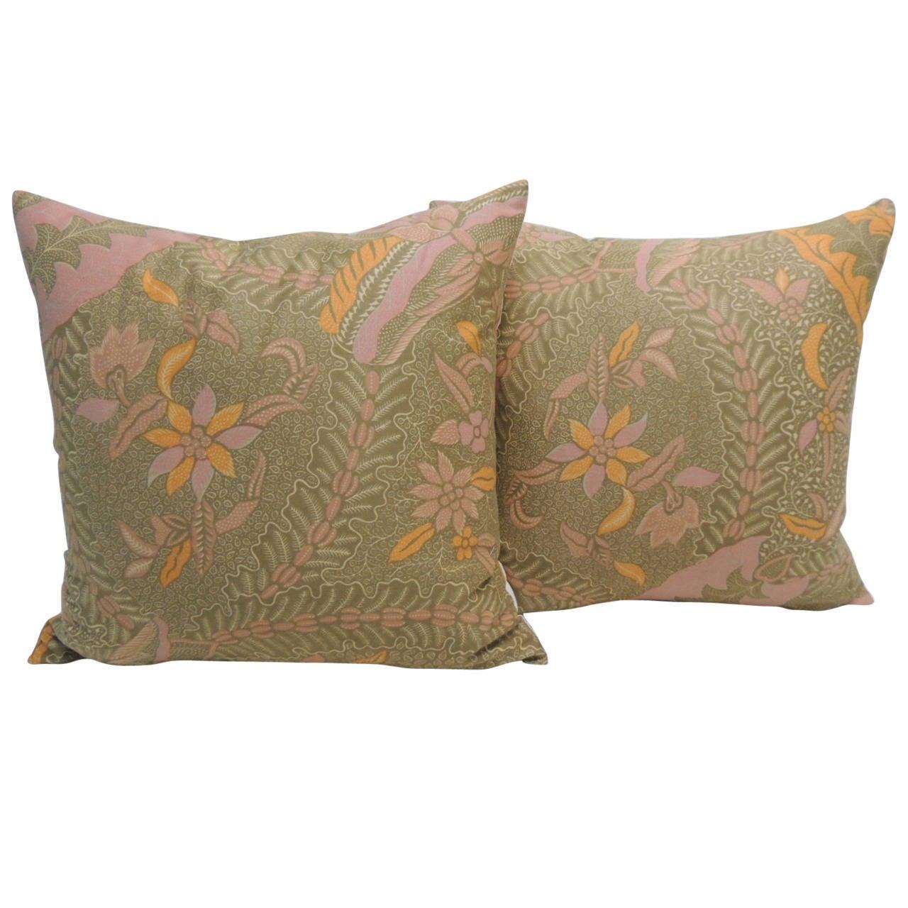 Pair of Orange and Pink Batik Orange and Pink Decorative Pillows