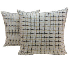 Pair of Vintage Plaid French Basket Weave Yellow Pillows