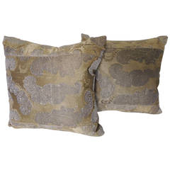 Pair of Antique Textile Embroidery Gold Pillows.