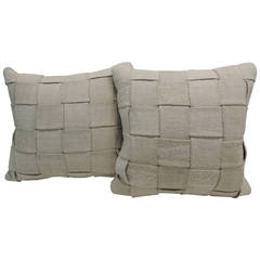 Pair of French Linen Basket-Weaved Pillows #2