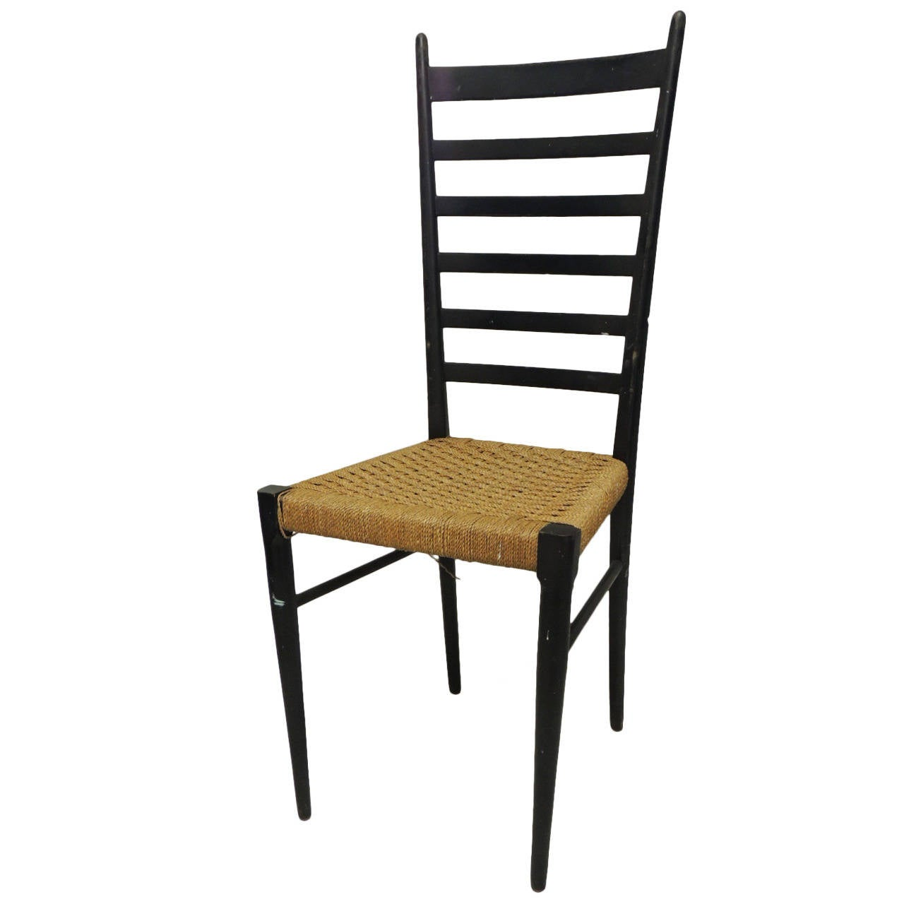 Tall Italian Ladder Back Chair with Rush Seat at 1stdibs : 1762152l from www.1stdibs.com size 1280 x 1280 jpeg 60kB