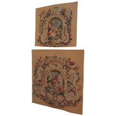 Pair of Floral Vintage Aubusson Tapestry Panels