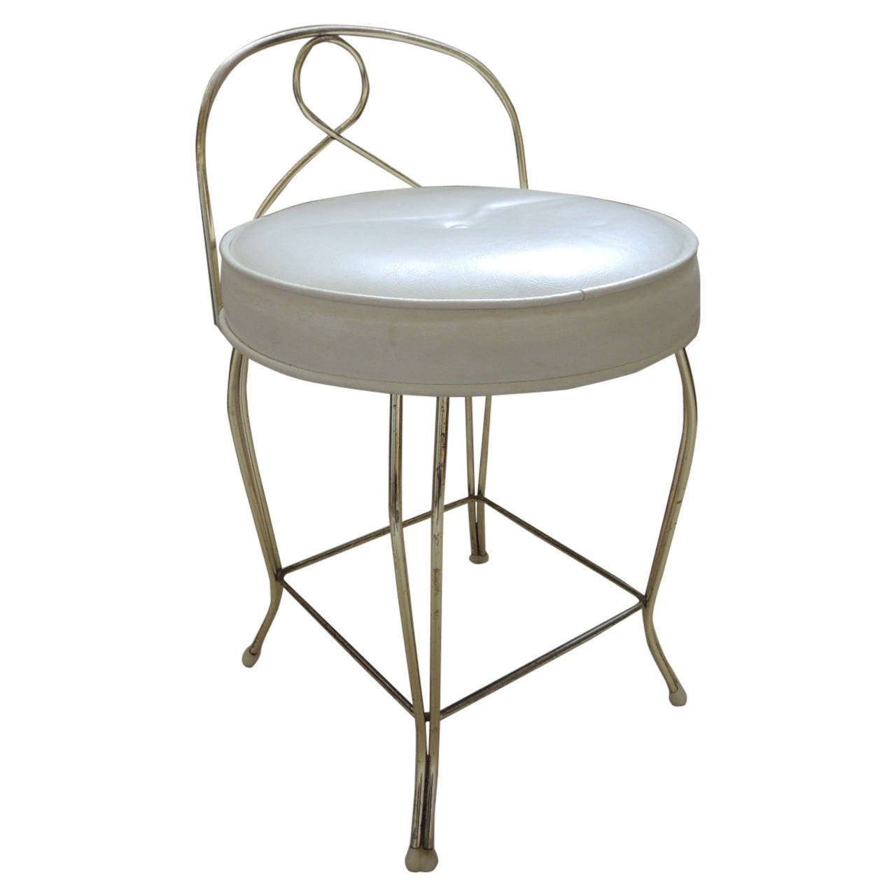 Vintage Round Brass Vanity Stool With Upholstered Seat For