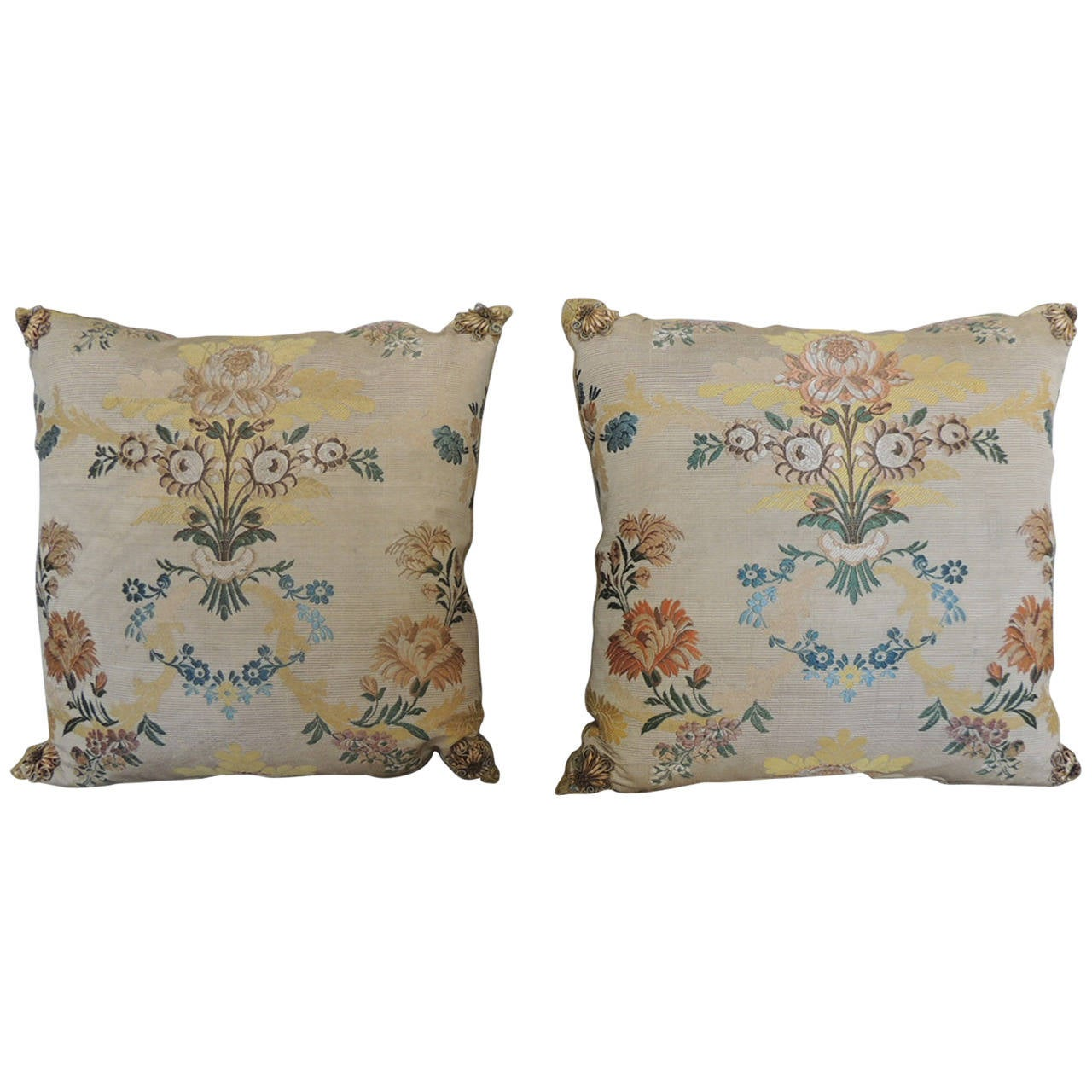 Pair of Antique Silk Brocade Floral Blue Decorative Pillows For Sale at 1stdibs