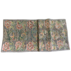 18th Century Green and Orange Woven French Silk Brocade Table Runner