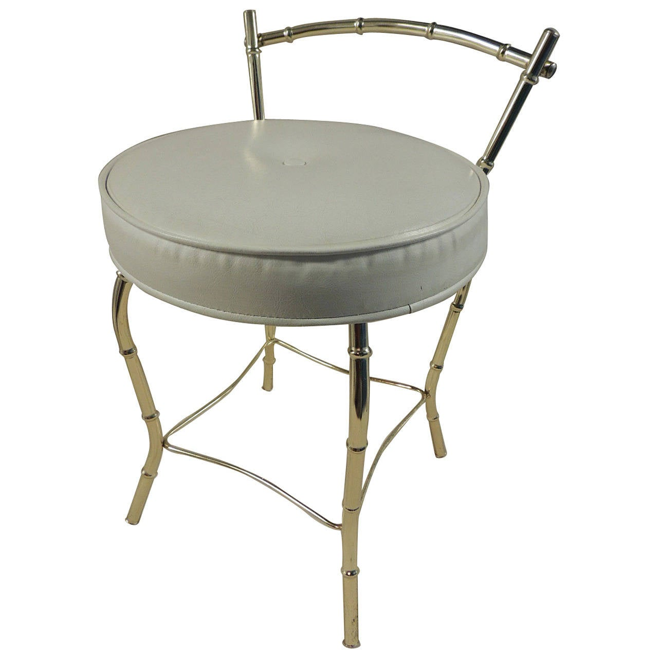 Vintage art deco vanity stool with round cushion at 1stdibs - Antique vanity stools ...