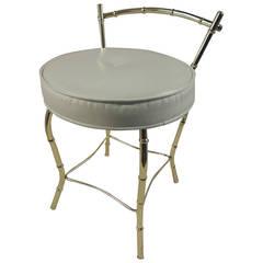 Vintage Art Deco Vanity Stool with Round Cushion