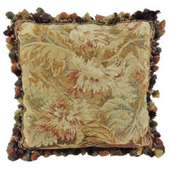 19th Century Floral Tapestry Decorative Pillow with Silk Fringe Trim