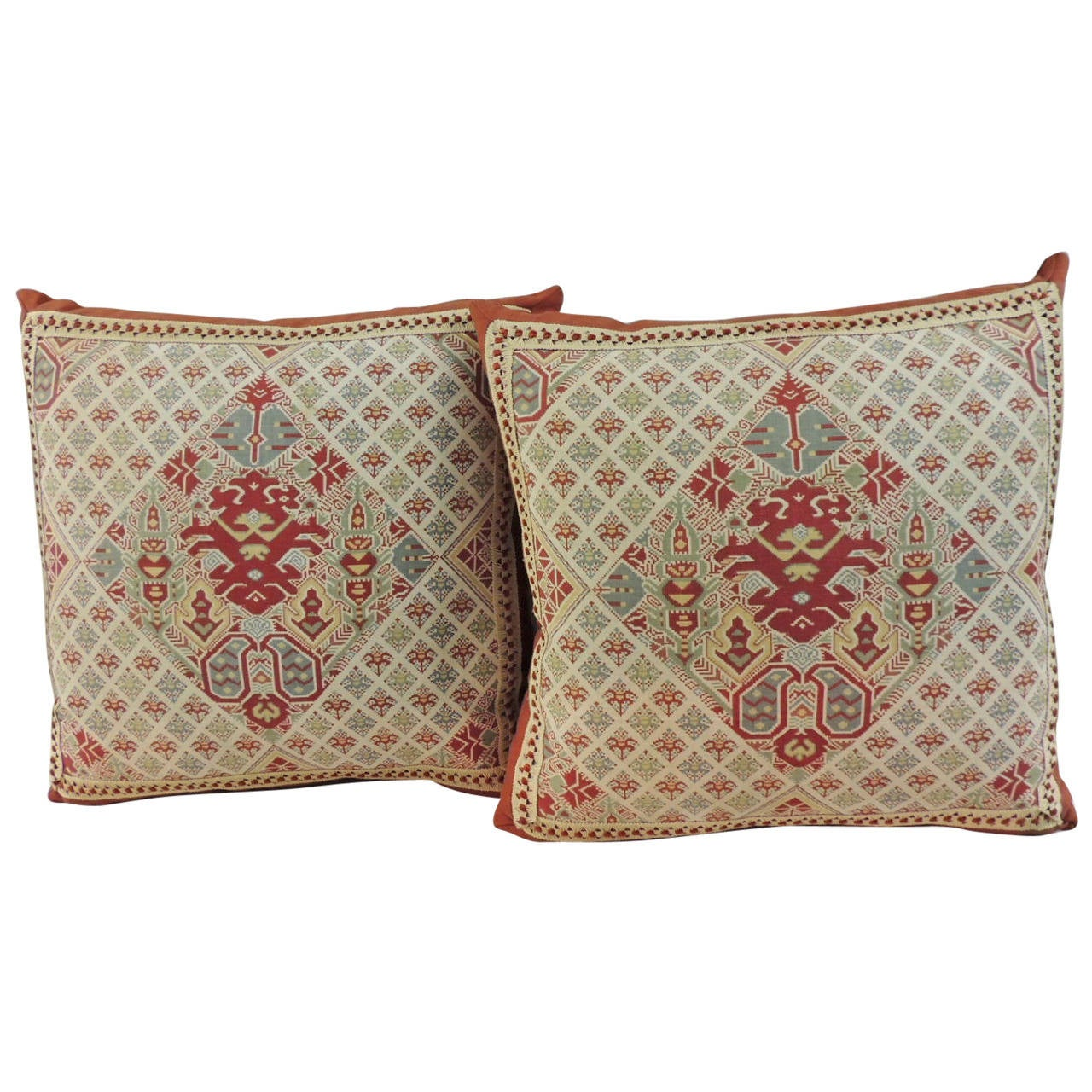 Vintage Decorative Pillow : Vintage Pair of Printed Kilim Bright Color Pattern Decorative Pillows at 1stdibs