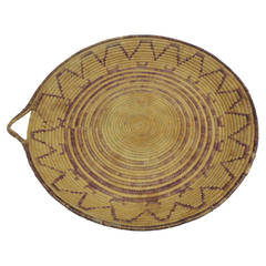 Large Round Tribal Woven Artisanal Basket with Handle