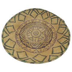Large Round Artisanal Basket with Geometric Tribal Design