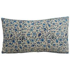 Blue and White Indian Lumbar Pillow