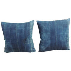Pair of African Indigo Mud-Cloth Pillows