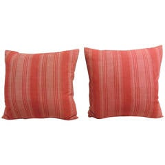 Pair of Vintage French Red Stripe Pillows
