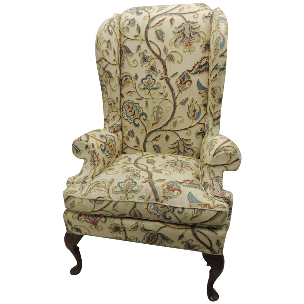 Wing Chair Upholstered In Crewel Work Embroidery At 1stdibs