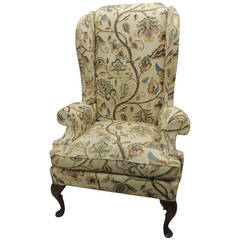 Wing Chair Upholstered in Crewel Work Embroidery