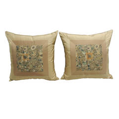 Pair of Antique Persian Embroidery Textile Pillows.
