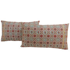 Pair of Vintage Asian Silk Obi Lumbar Pillows