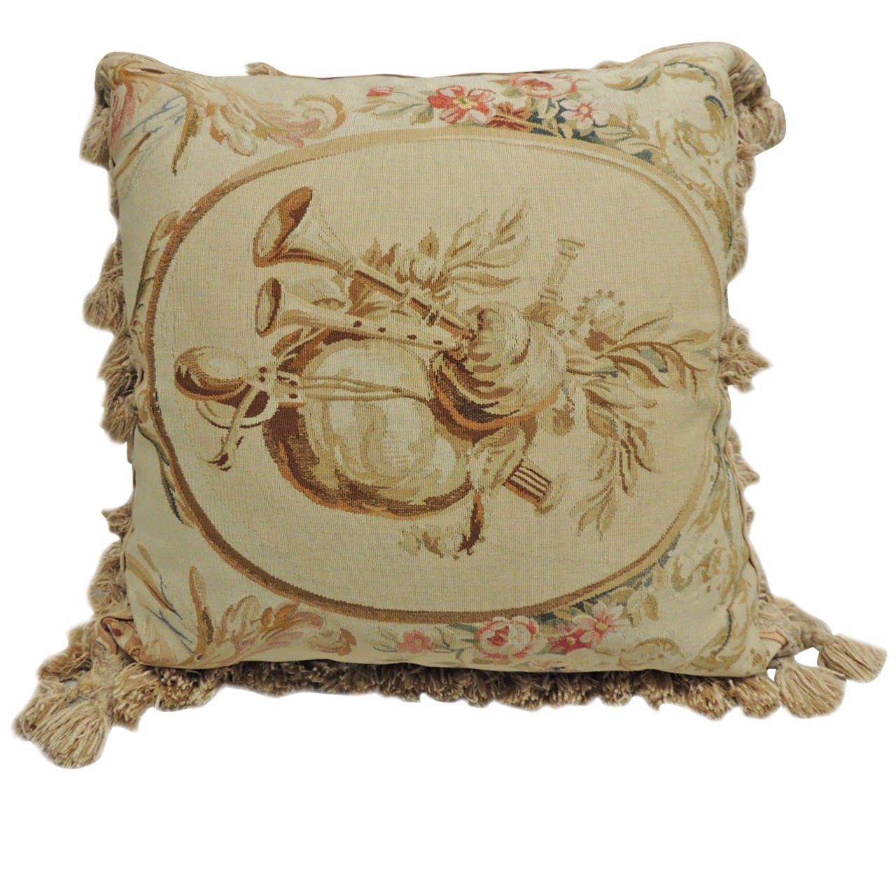 Large Tapestry Pillow with Tassels at 1stdibs