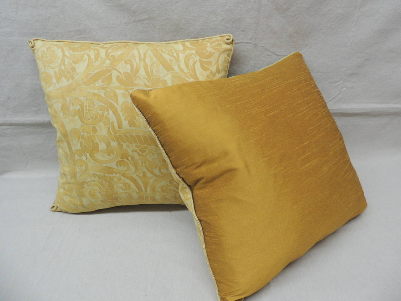 Decorative Pillow Trim : Pair of Yellow Uccelli Fortuny Pillows with Decorative Rope Trim at 1stdibs