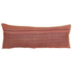 Minority China Home-Spun Linen Stripe Orange Bolster Pillow