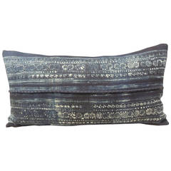 Indigo Batik Hand-Blocked Bolster Pillow