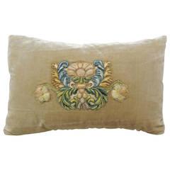 Antique Golden Silk Velvet Floral Applique Petite Lumbar Pillow
