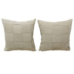 Pair of French Linen Basket-Weaved Pillows, No. 1
