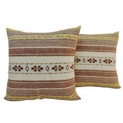 Pair of Vintage Moroccan Embroidery Pillows