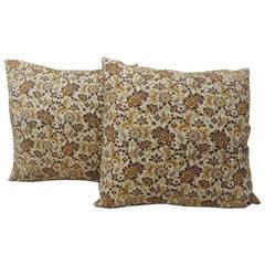 Pair of Yellow Paisley Indian Batik Pillows
