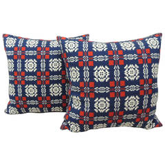 Vintage Pair of Indigo, Red and White Americana Coverlet Pillows
