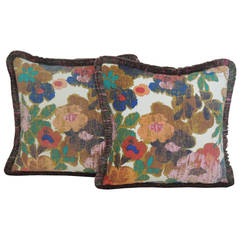 Vintage Pair of Modern Bright Floral Linen Decorative Pillows with Moss Fringe