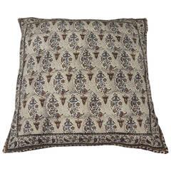 Large Indian Hand Blocked Paisley Batik Floor  Pillow