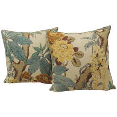 Pair of Floral Linen Pillows with Decorative Trellis Trim